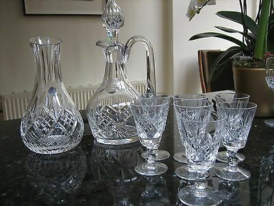 Stuart Crystal Glengarry Claret Jug Carafe Decanter Sherry Glasses X7 Lovely Set