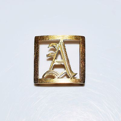 Victorian Initial Letter A 9ct Yellow Gold Pendant Slider Bracelet Charm