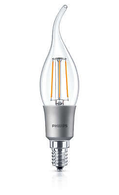 60x Philips LED 40w Dimmable E14 Warm White Bent Tip Candle Light Bulbs 470Lm