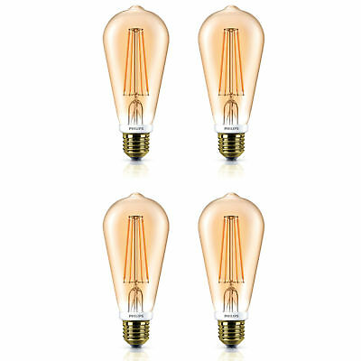4 x Philips LED 50w Dimmable Squirrel Cage Filament E27 Edison Light Bulbs 630Lm