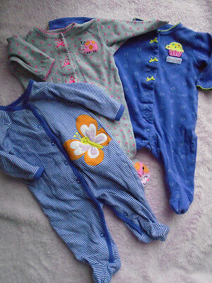 CARTER'S Purple CUPCAKE Mommy's Sweetie Grey LADYBUG Butterfly 3 Pajamas 3 mths