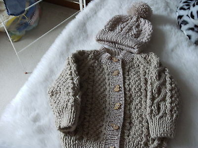 hand knitted baby jacket & Hat-6 - 12 months. -new