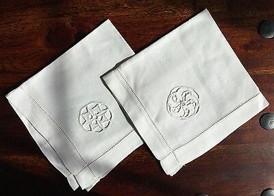 Pair of 2 Rare Vintage White Linen Napkins Double Cut Out Wheel Embroidery
