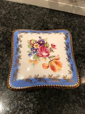 Lovely Vintage Blue And Gold China Floral Trinket Box