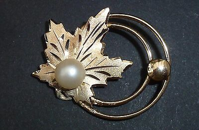 A Vintage Gilded Sterling Silver And Cultured Sea Pearl Brooch