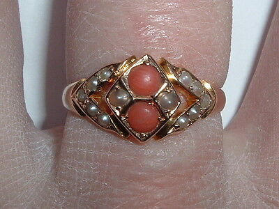 Antique Victorian 15ct Gold Coral Pearl Ring Free Resizing