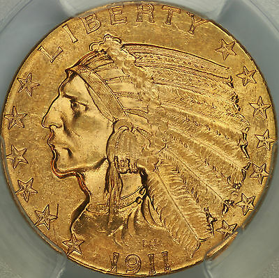 1911 $5 Indian Half Eagle PCGS MS63