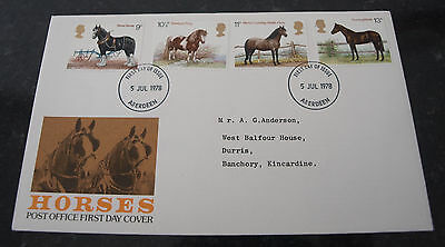 First Day Cover of Horses 5th July 1978