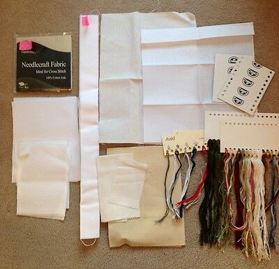 Job Lot Of Tapestry Canvas, Threads & Thread Holders