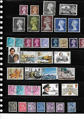 39  British Postage Stamps Mixed Themes from 1p to £2
