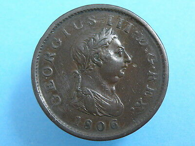 1806 King George III  - COPPER PENNY COIN  - Good Coin