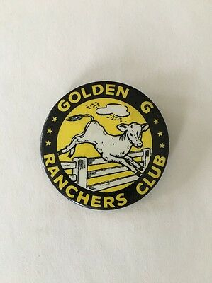 Vintage Pinback Golden G Ranchers Club 1950's Dairy Advertising Button Farm Milk