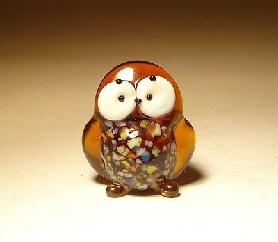 "Blown Glass Figurine ""Murano"" Small Brown Bird OWL with White Face"