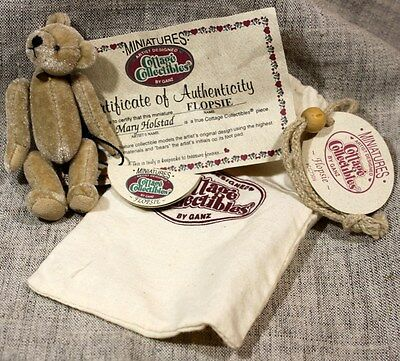 "GANZ COTTAGE COLLECTIBLES MINI ""FLOPSIE"" Bear MARY HOLSTAD w/Bag & Tag 1990s"