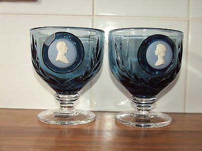 Boxed Pair Of Wedgwood Cameo Royal Commemerative Glass Goblets Stennet Wilson