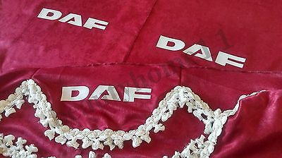 Set Of 3 RED Curtains With White Tassels  And Logo For  DAF XF CF LF