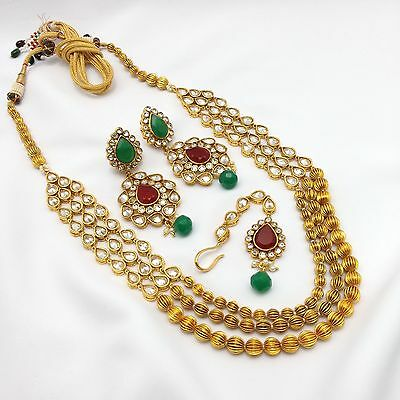 New Indian Bridal Jewellery Bollywood Asian Ethnic Wear Anarkali Necklace Set