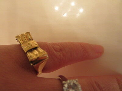 Unique Victorian Etched flower Ring 585 14K Yellow Gold Ring