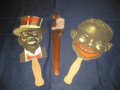 African American Memorabilia-Two Paper Fans One With Menu And 'letter Opener'
