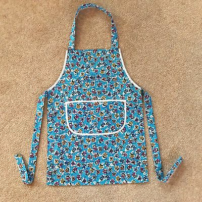 Childs Pretty Turquoise Flowers Cooking Painting Fabric Apron  Approx Age 4-6