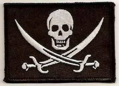 Lot Of 2 - Jolly Roger  Pirate Embroidered Iron On Biker  Patch