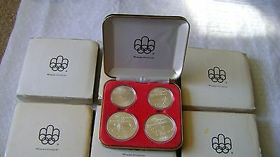 Seven Montreal Olympics Silver Coins sets of Four COA