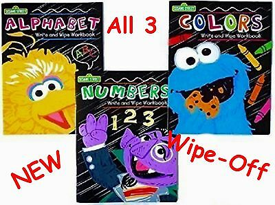 NEW Sesame Street Workbooks Dry Erase Alphabet Letters Numbers Colors Xmas Write