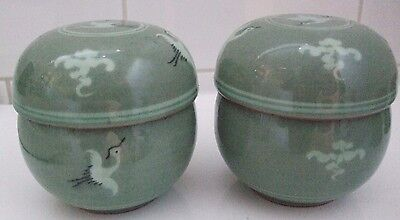 Two Oriental Infuser Tea Cups with Flying Bird Design