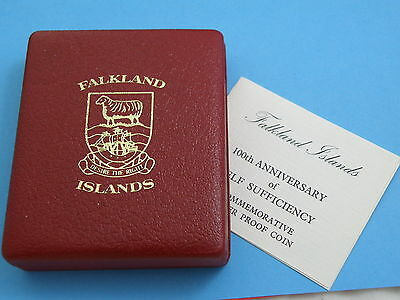 FALKLAND ISLANDS - LARGE 1985 SILVER PROOF £25 CROWN COIN - 150gms 65mm !