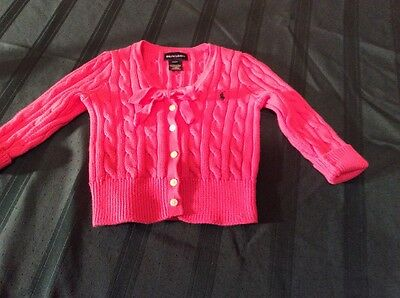Ralph Lauren Girls Cable Knit Button Down Sweater Pink Size 2T
