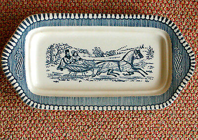 Currier & Ives Royal China Blue Butter Dish Bottom Only Sleigh Horse Winter