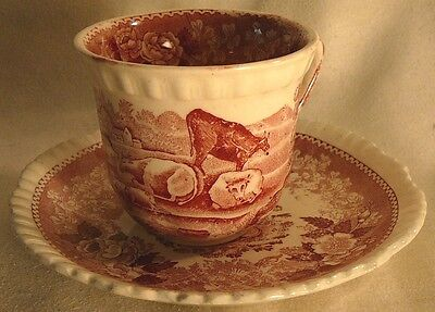 Pink Staffordshire Demitasse Cup & Saucer Adams English Scenic Cows Farm
