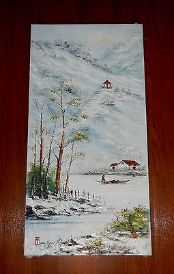 Chen Mao 1942-2011 Authentic Winter Scene Oil Painting on Canvas with Horsehair