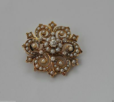Antique 15ct Gold Natural Seed Pearl and Diamond Brooch Pin gdw .83ct VIDEO VIEW