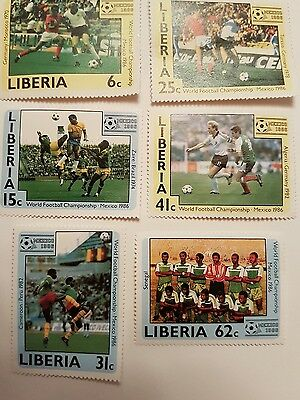 LIBERIA  Stamps Commerating The World Cup Finals Mexico 1986 .