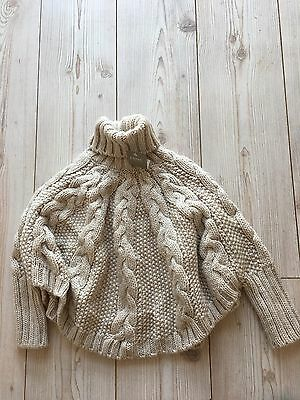 Next Girls Knitted Arron Poncho Oatmeal Age 3/4 Years New