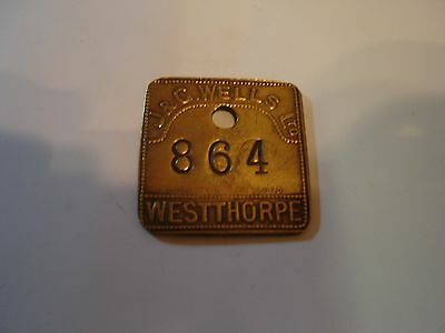 Pre 1947 Westthorpe Colliery Miners Mining Pit Check Token  Derbyshire