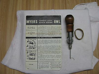 C A Myers Lock-Stitch Sewing Awl With Instructions