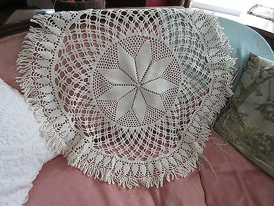 """VTG Round Tablecloth/Large Doily Heavy Crochet Lace Trim 30"""" Table Topper"""