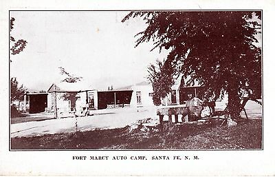 ~1930's SANTA FE NM - Fort Marcy Auto Camp - Browntone view