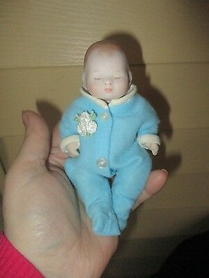 "6"" Vintage Porcelain all Bisque baby boy Doll Jointed"