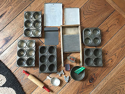 Vtg Lot Childrens Toy Kitchen Pans ABC Washboard Muffin Pan Cookie Cutter Iron