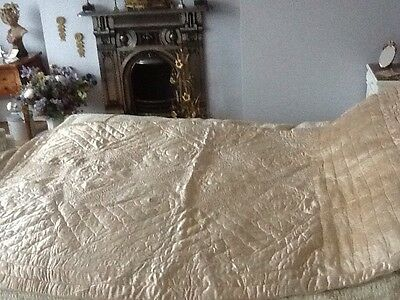 FRENCH VINTAGE SHABBY CHIC SINGLE BEDSPREAD QUILT Antique