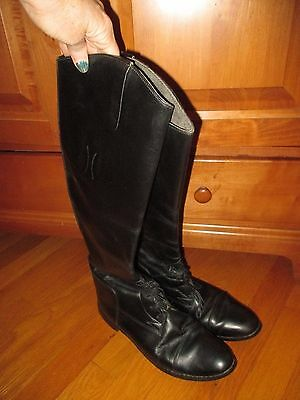 Womens Equestrian English Riding Boots Black Leather Size 10 Made in USA