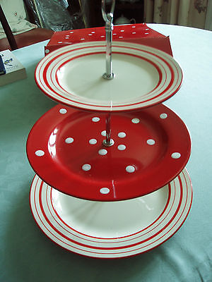 Bnib Laura Ashley Red Spotted & Striped Three Tier Cake Stand Rrp £42