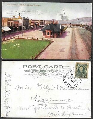 1907 Wyoming Postcard - Rock Springs - Union Pacific Railroad Depot, Station