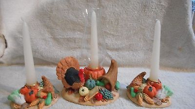 Harvest Candle Centerpiece 3 Piece Set Thanksgiving Autumn Fall EUC In Box!