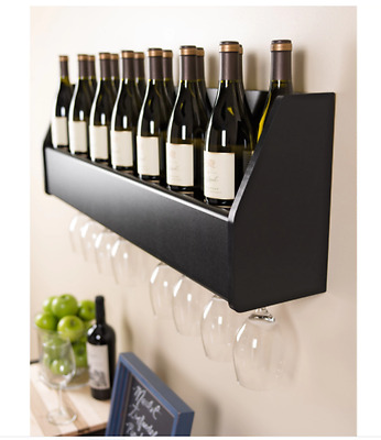 Wine Rack Wall Mounted Bottle Holder Kitchen Storage Wood Cabinet Home Decor