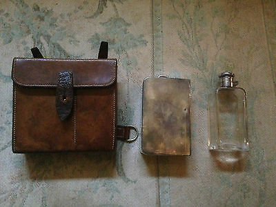 Vintage Hunting Sandwich Tin and Flask (both James Dixon & Son) in Leather Case