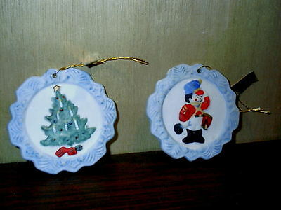 2 Vintage Jasco Bisque Porcelain Snowflake Greetings Ornaments Soldier & Tree